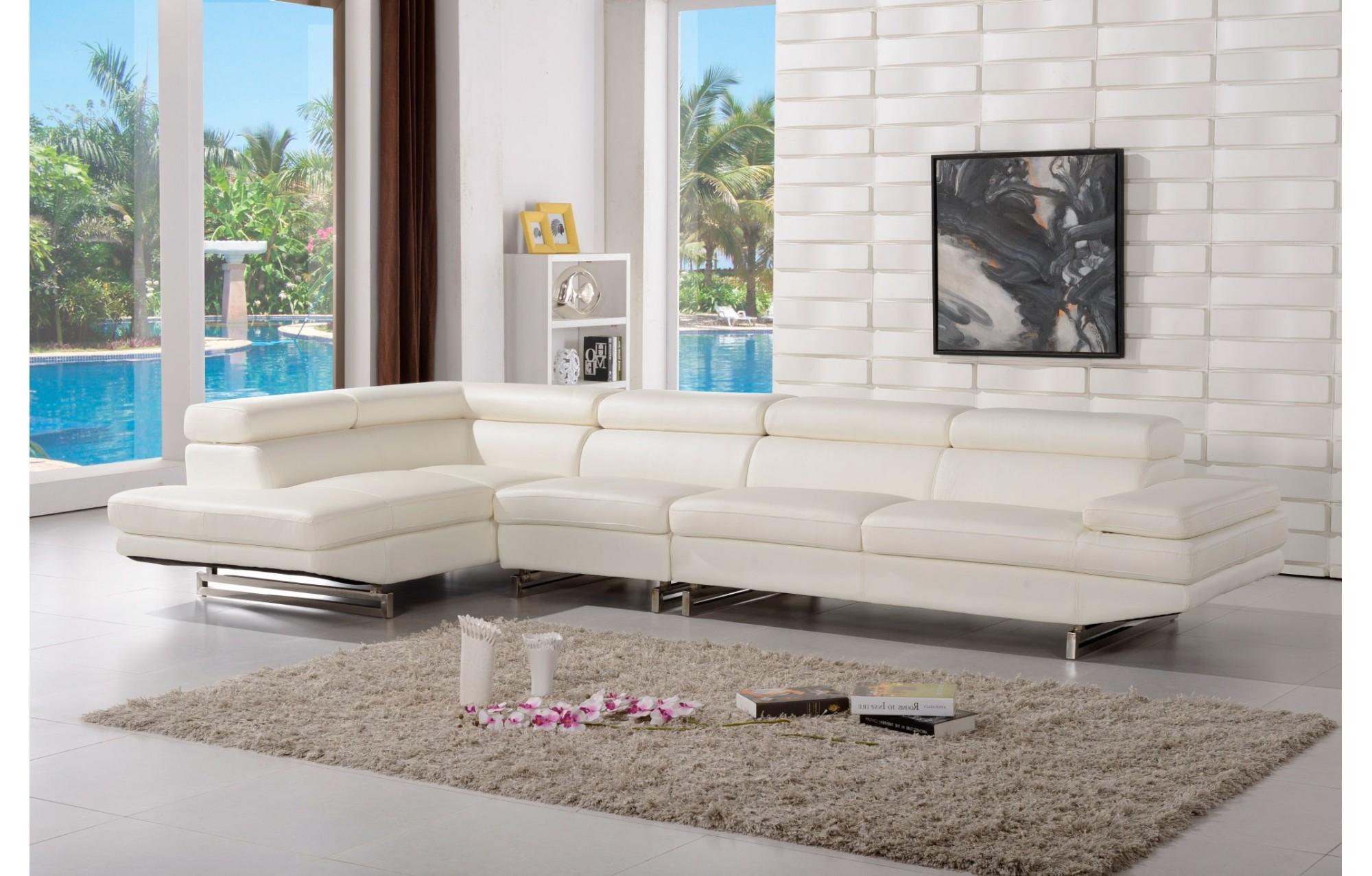 Canapé d'angle en cuir milano   4 places   méridienne   teck in home