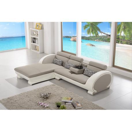 Canapé D'Angle Moderne En Cuir - Elios - Gris Et Blanc - Angle