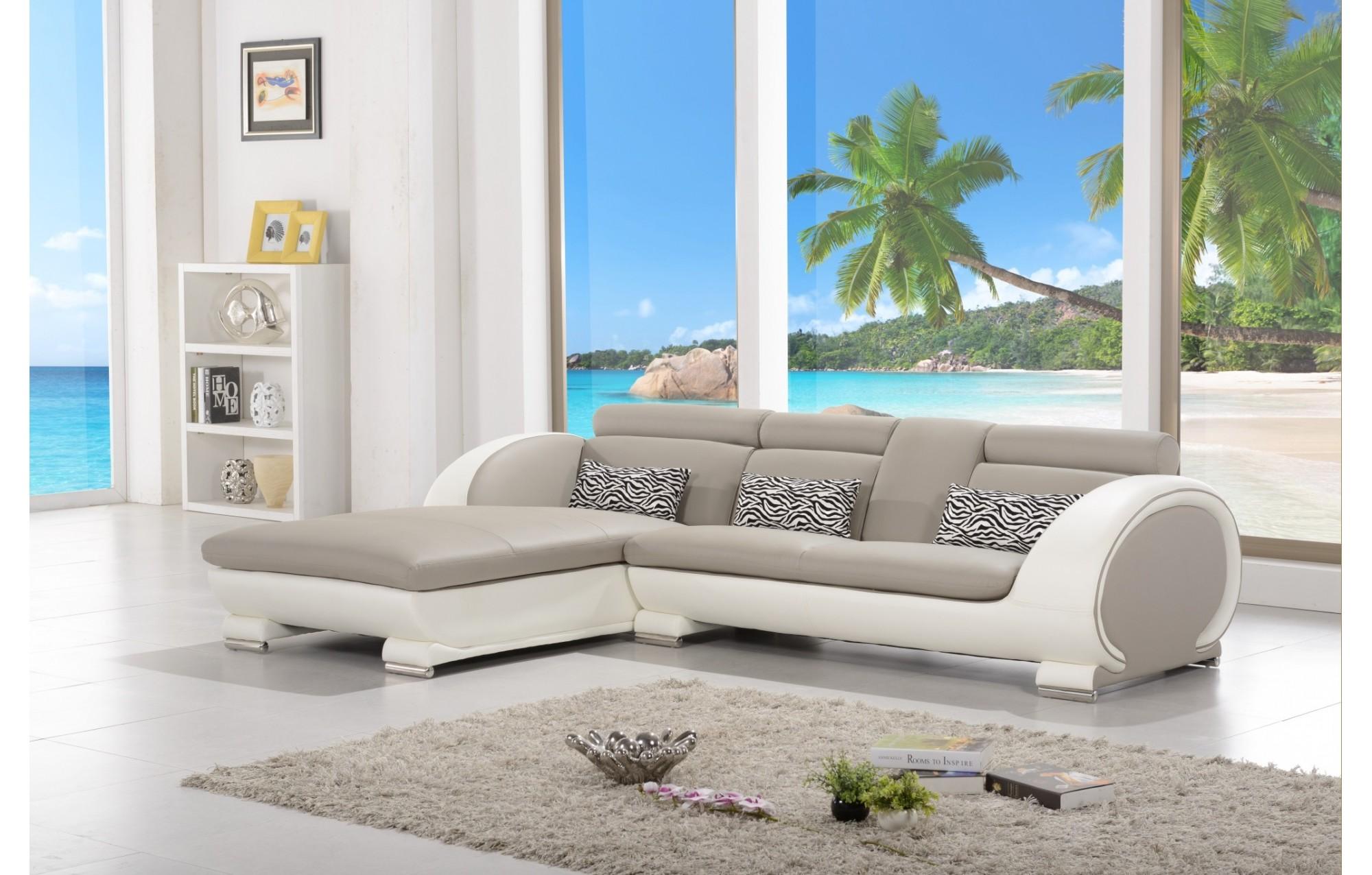 Canapé d'angle moderne en cuir   elios   gris et blanc   angle ...