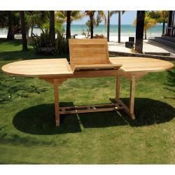 table de jardin en teck de grade A : 180-240 x 120 cm