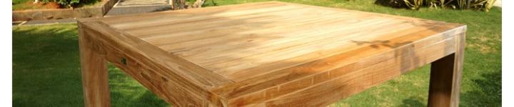 Tables de jardin en teck au design simple et élégant à petits prix